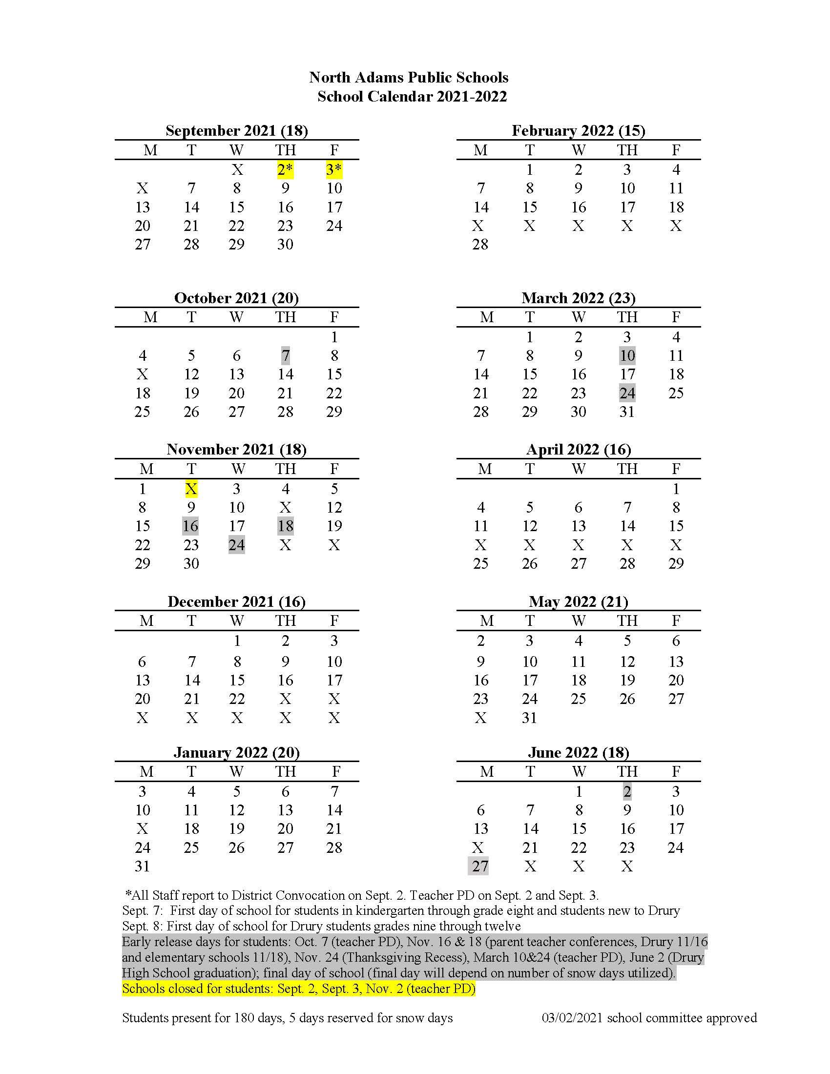 2021-2022 School Year Calendar