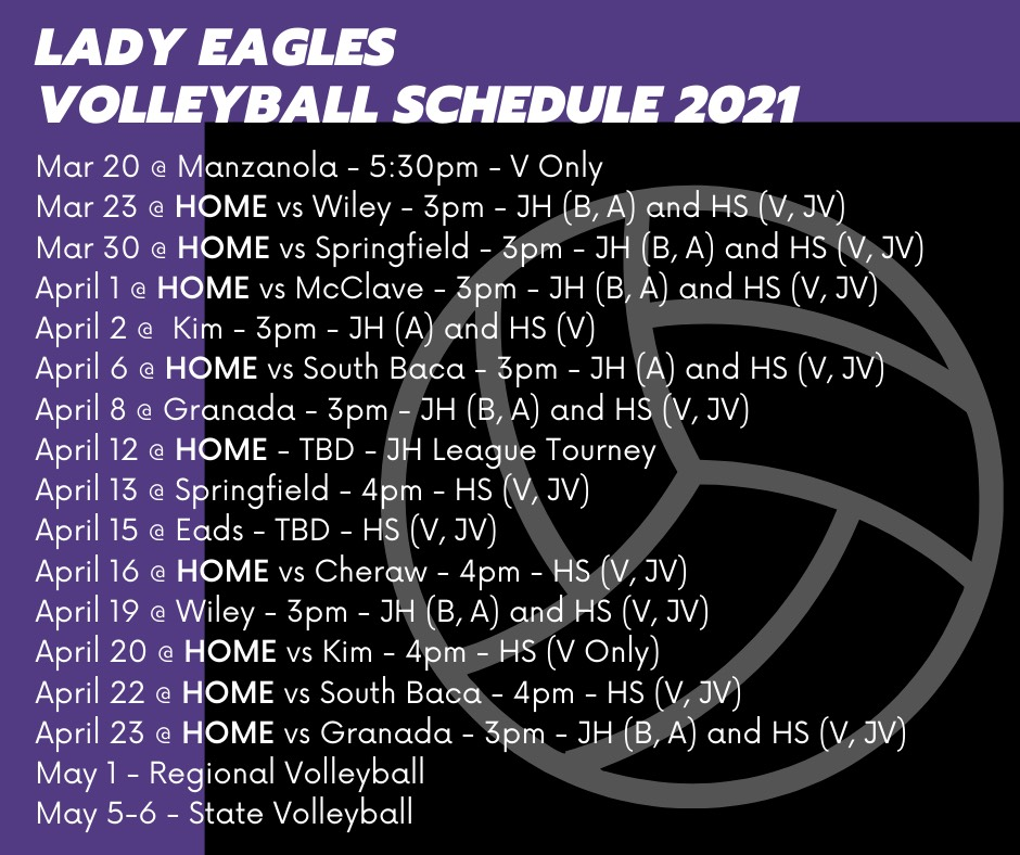 2021 HS and JH Volleyball Schedule