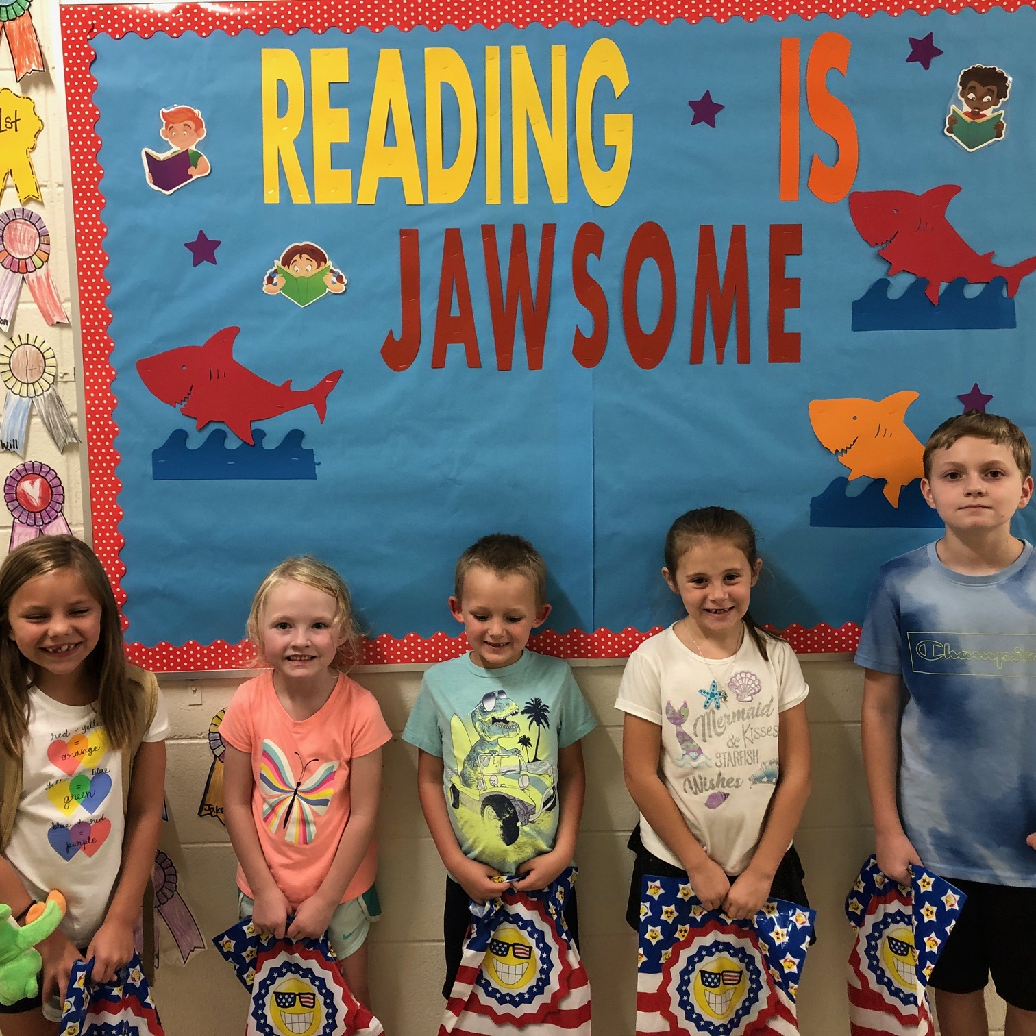 August Readers of the Month-LeeAnne T., Piper F., Will F., Kylee P., Tucker C.  (not pictured: Hunter J. and Abby D.)