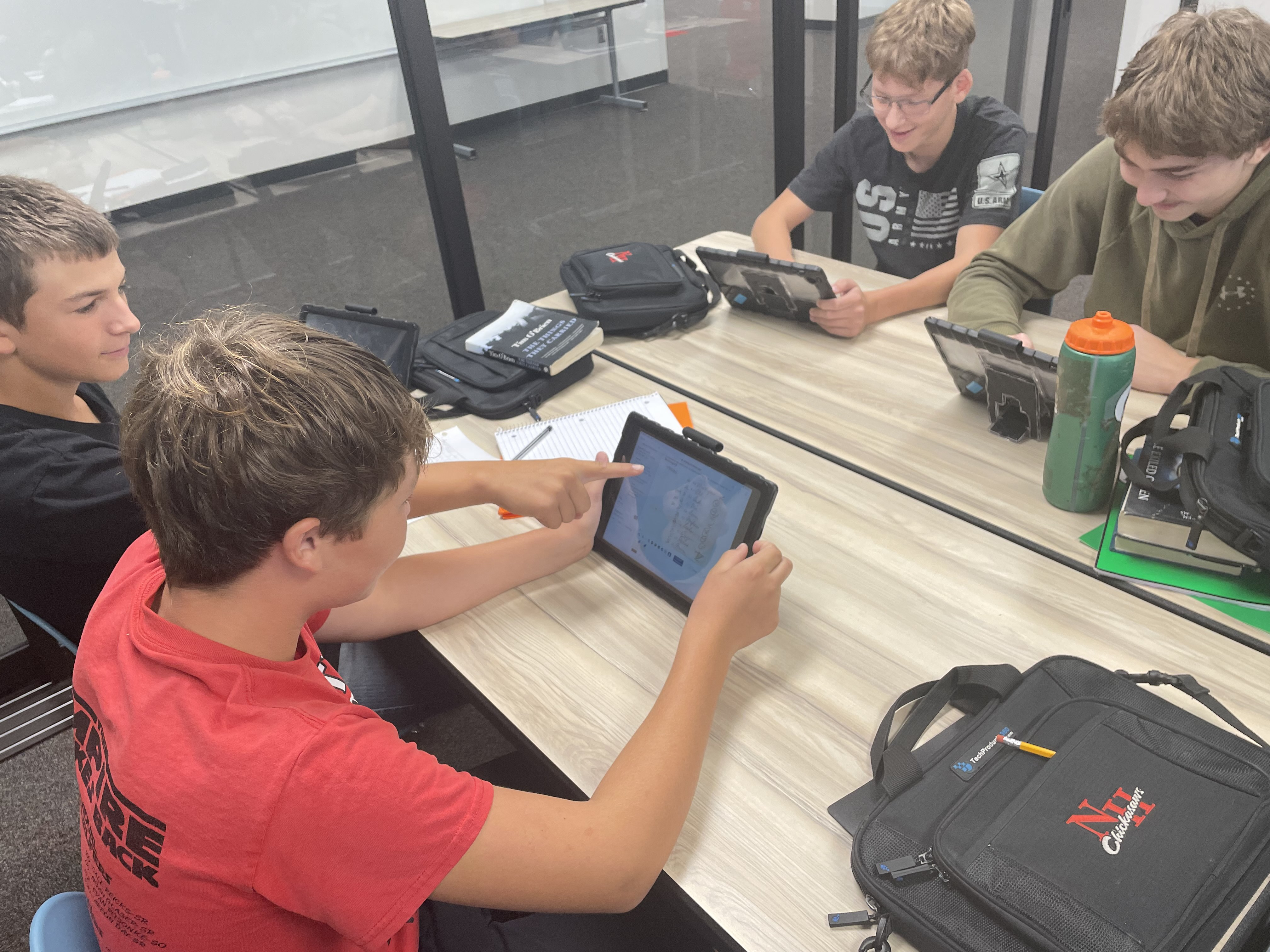 """8th graders in Mr. Rude's class are working with documents from the 1860 election. They are transcribing a July, 1860 prediction of that fall's election, made by J.K. Duncan and GT. Beauregard. This allows the students to compare the perceived """"pulse of the country"""" in July, 1860 to the actual results in November."""