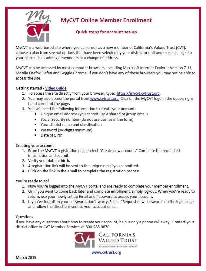 MyCVT Online  Member Enrollment