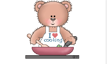 Image of a Teddy bear cooking.