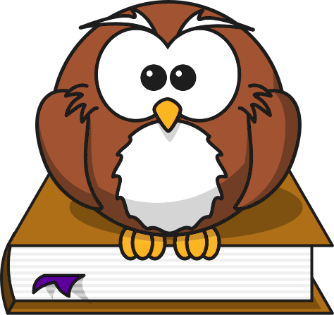 Image of an owl standing on a book.