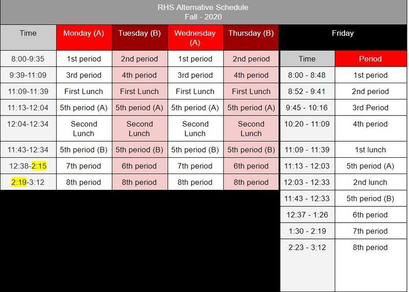 Updated Fall Schedule 2020