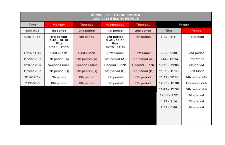 RHS Bell Schedule 2021-2022