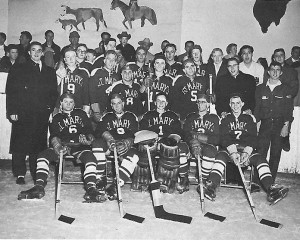 Black and white photo of a St. Mary's hockey team