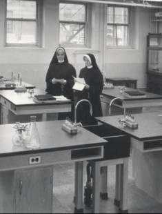 2 nuns in a classroom