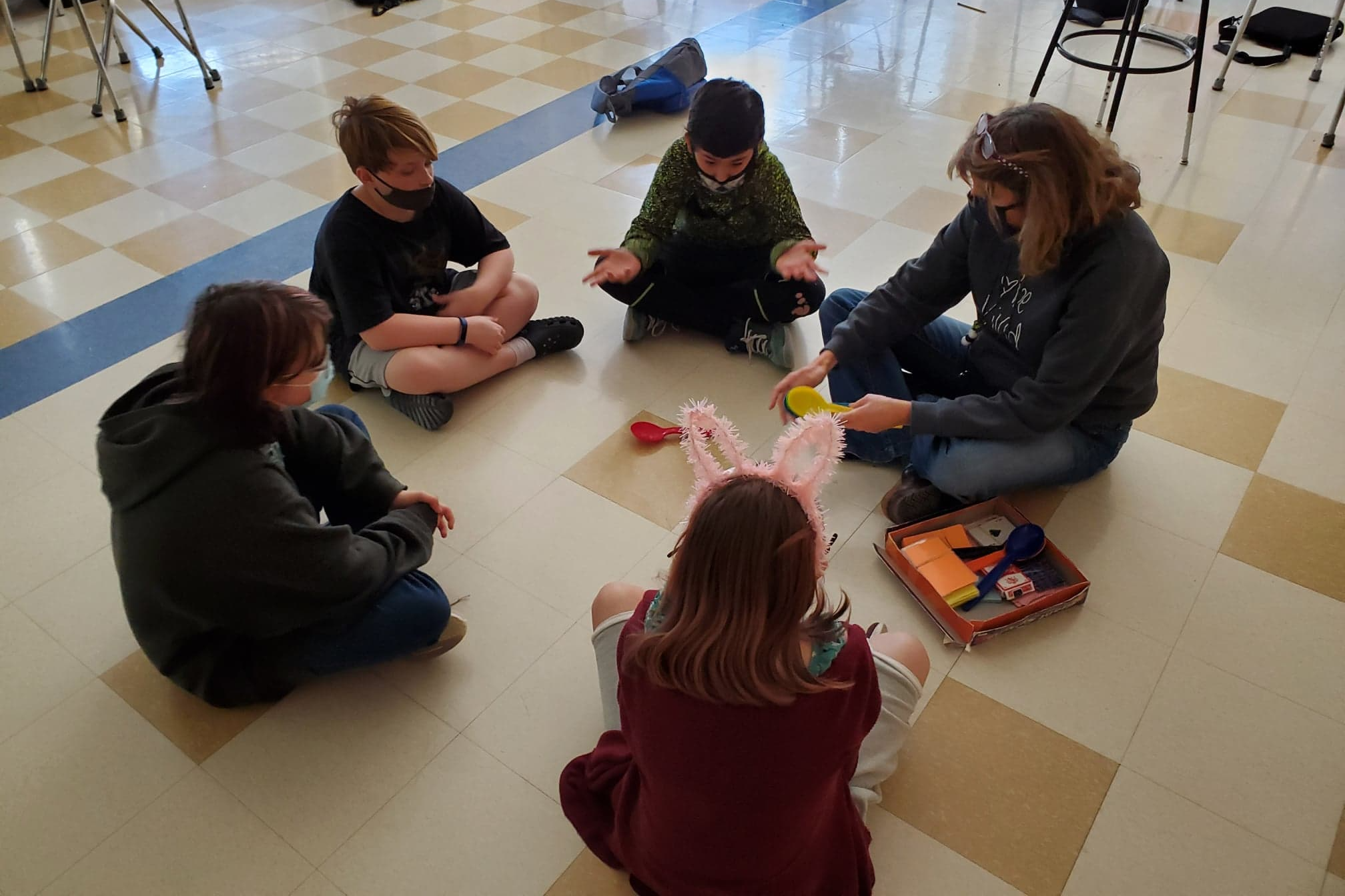 Image of students working together