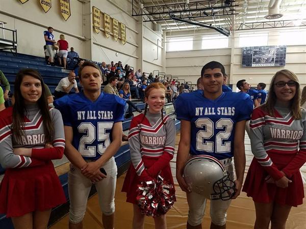 Cheerleaders and football players