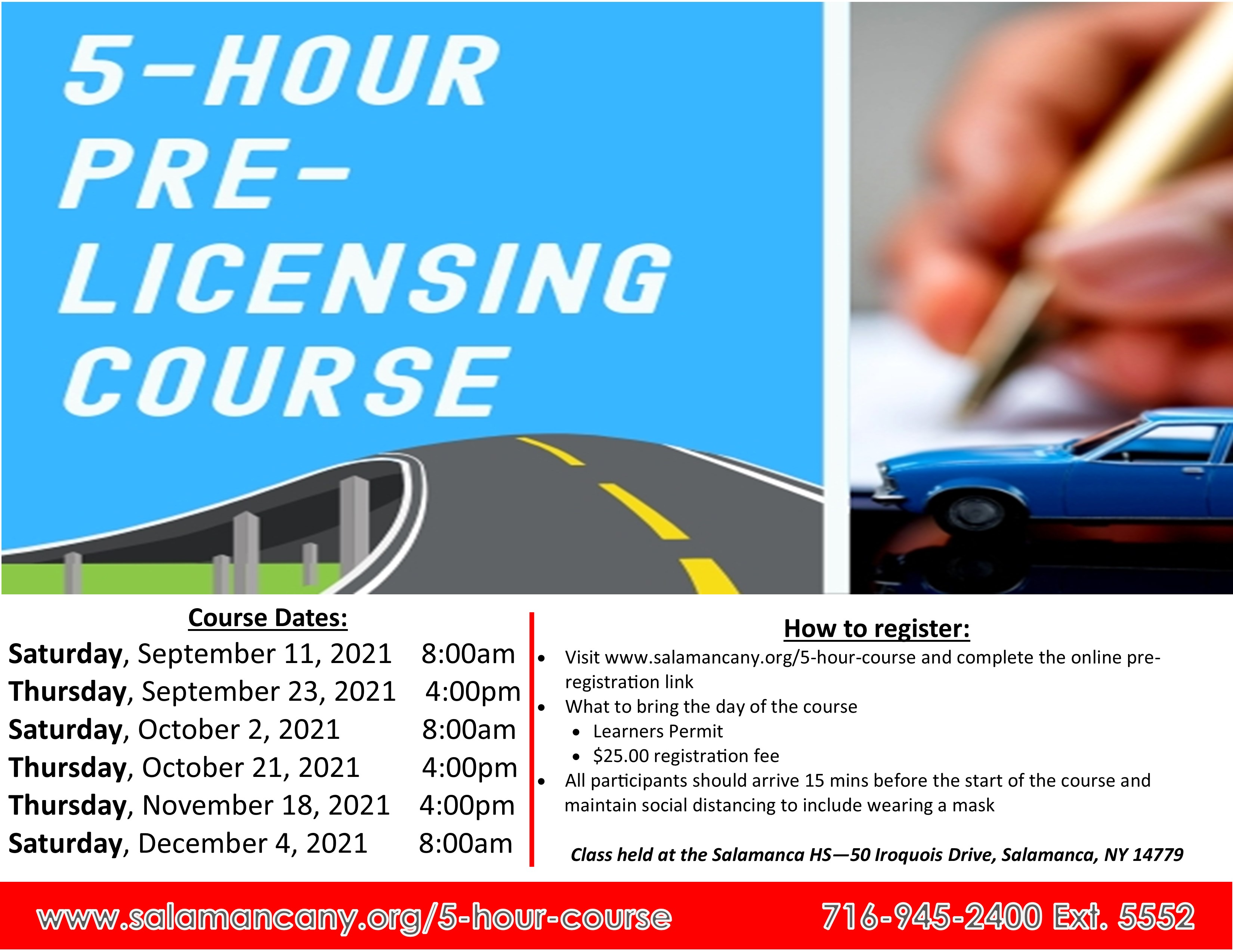 5 hour pre licensing course flyer