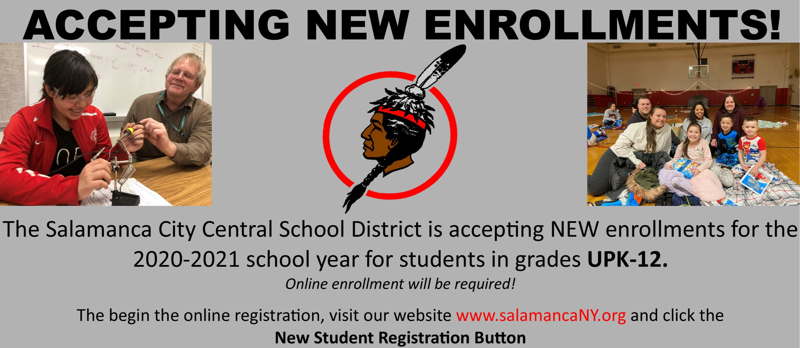 New Student Enrollment flyer with 4 photos and text