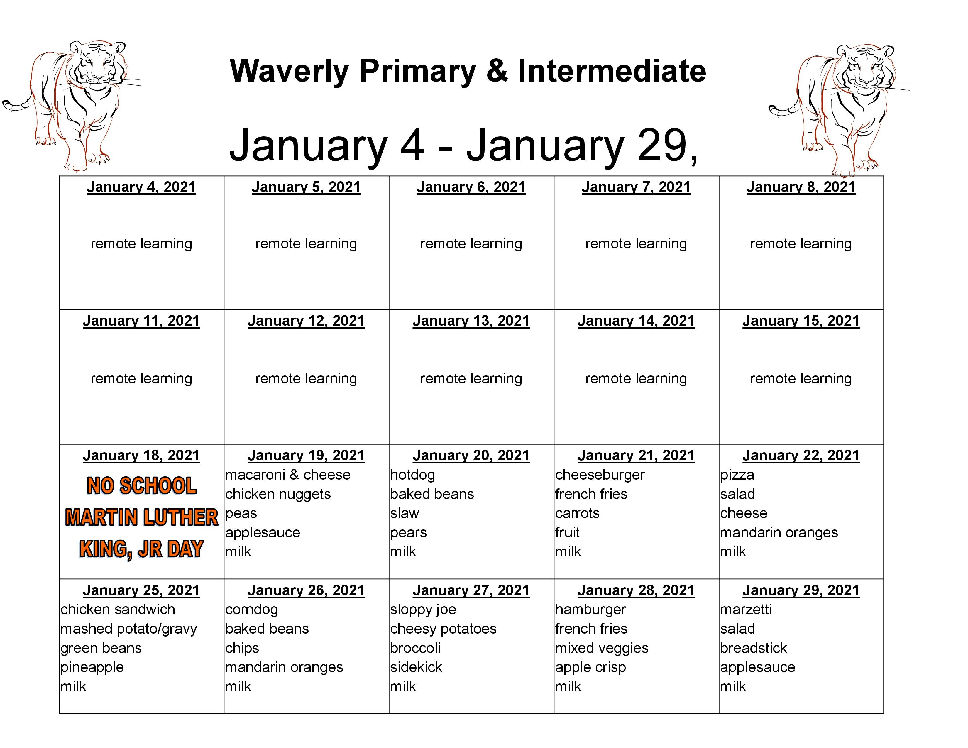 Primary & Intermediate Lunch Menu