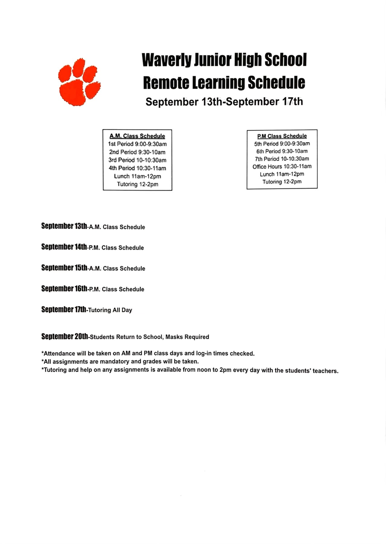 Jr High Remote Learning Schedule