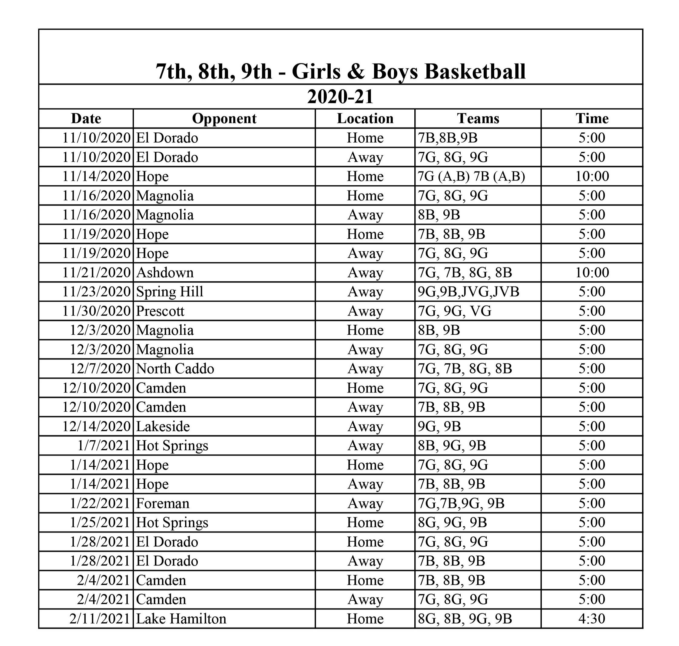 7th, 8th & 9th Grade Schedule