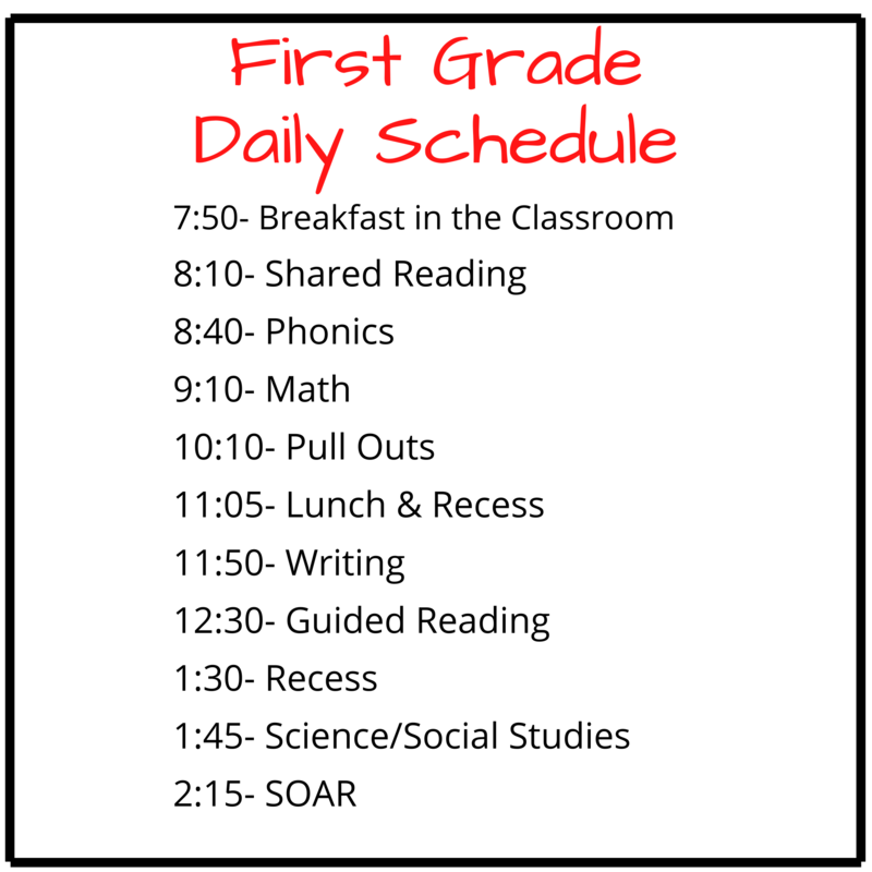 First Grade Daily Schedule