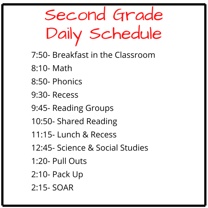 Second Grade Daily Schedule