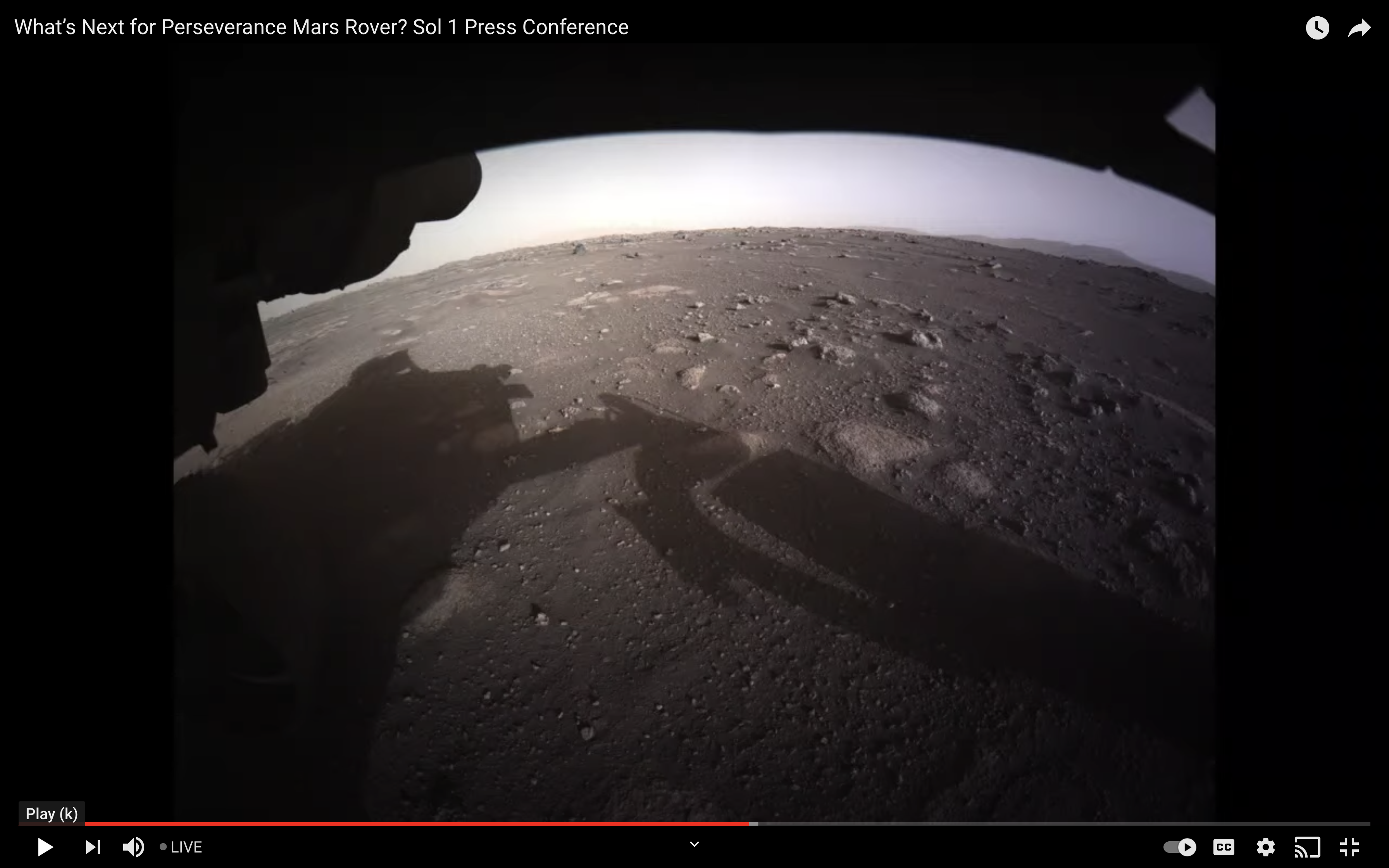 Perseverance looking out from it's left front hazard cam, toward the delta and rim on Jezero crater. Image downloaded 2/19/21