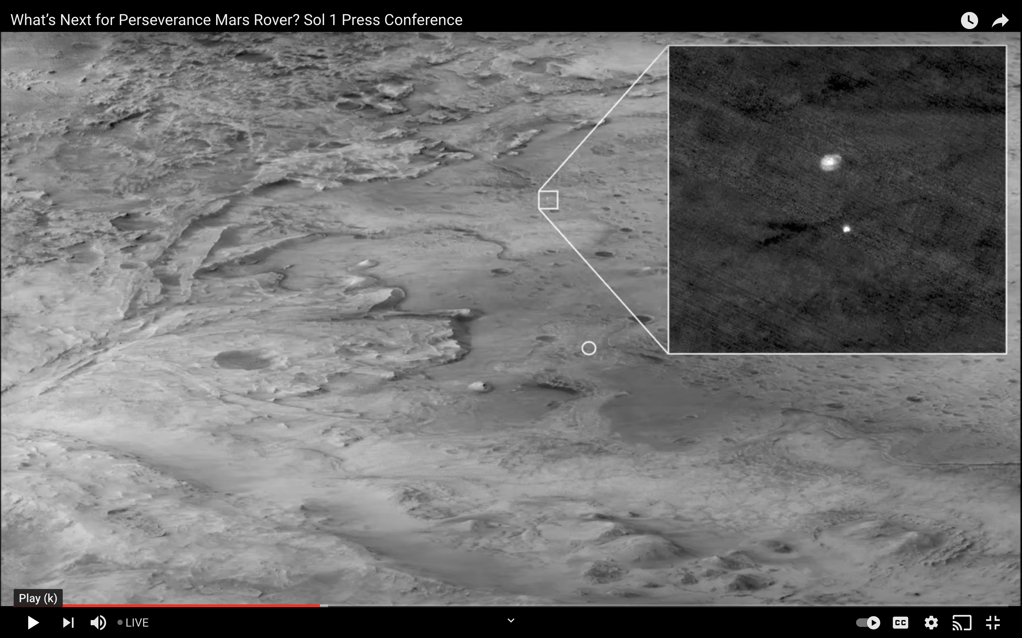 Perseverance parachute and landing system, as seen from another Martian spacecraft, the Mars Reconnaissance Orbiter. Image downloaded 2/19/21