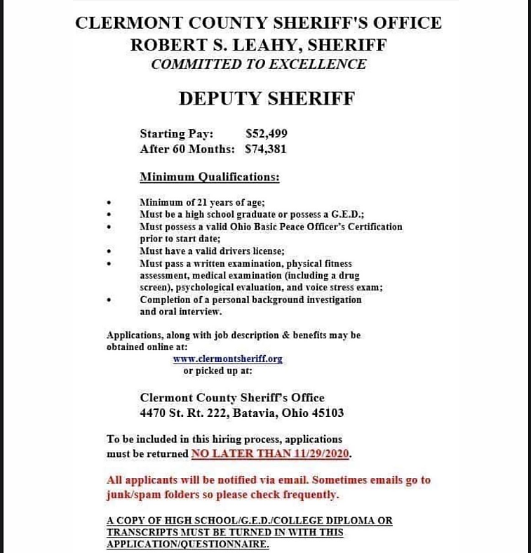 Job Posting for Clermont County Sheriff
