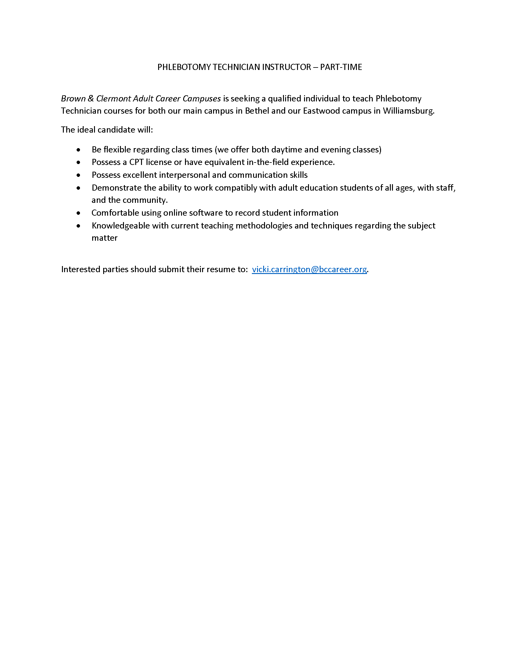 Job Listing for Phlebotomy Technician Instructor