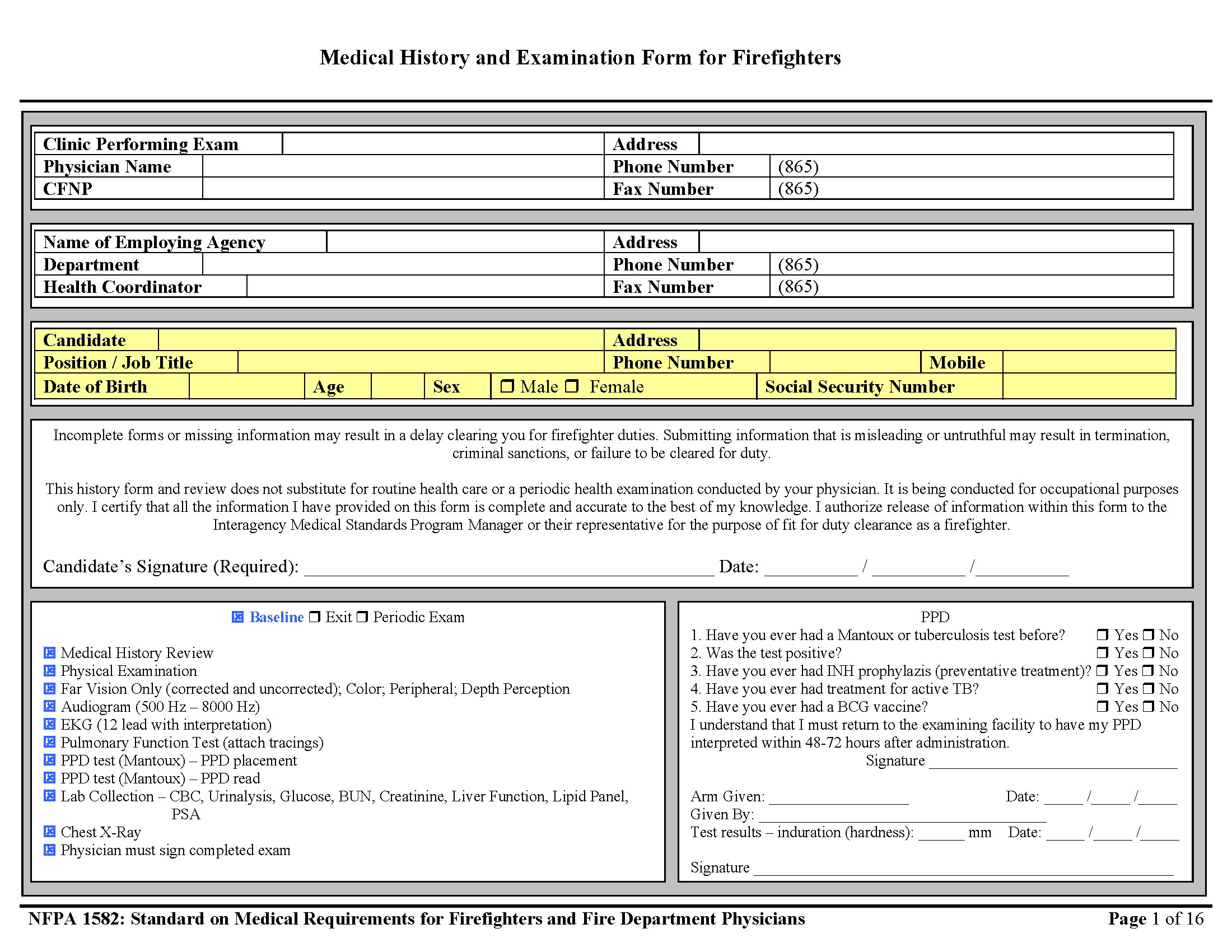 Page 1 of Firefighter Physical Form