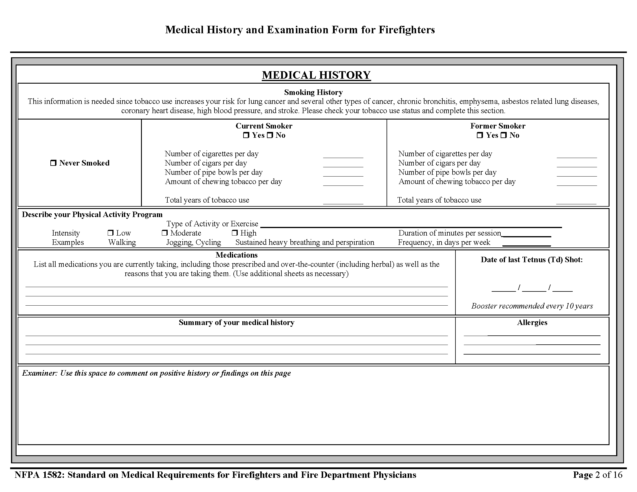 Page 2 of Firefighter Physical Form