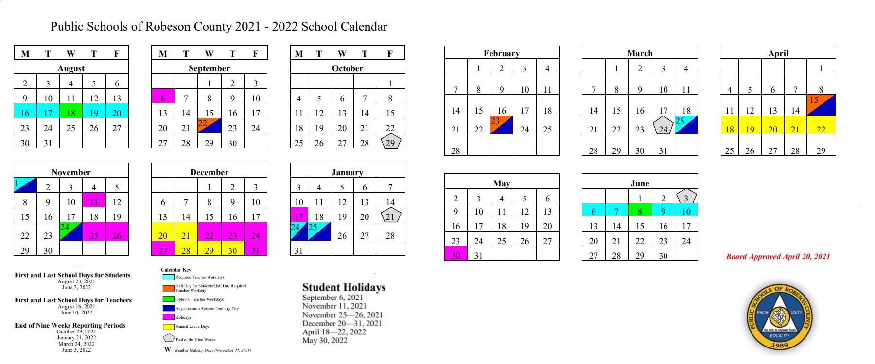 PSRC School Calendar