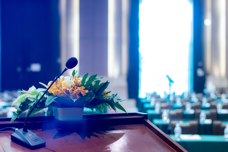 podium with flowers