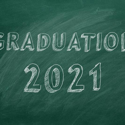 graduation 2021 words on green chalkboard