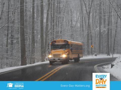 A photo of a school bus in the snow.