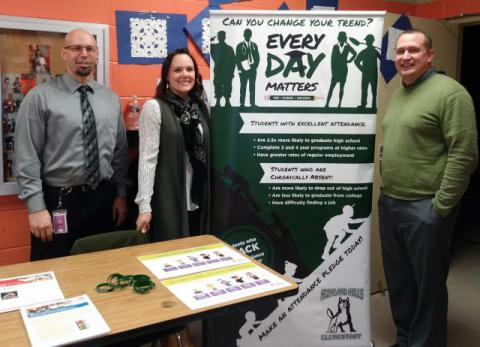 Jake Bacon, principal of Highland Hills Elementary, Erin Lair, Director of Teaching & Learning for IMESD and Landon Braden, Regional Coordinator for Chronic Absenteeism pose at the attendance booth outside the gym of Highland Hills Elementary in Hermiston.