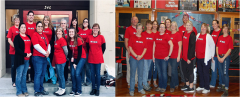 Photos of the staff wearing the campaign t-shirts.