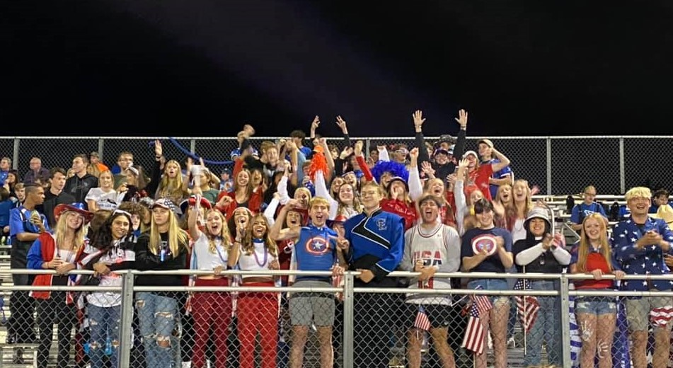 Students in the Home Bleachers