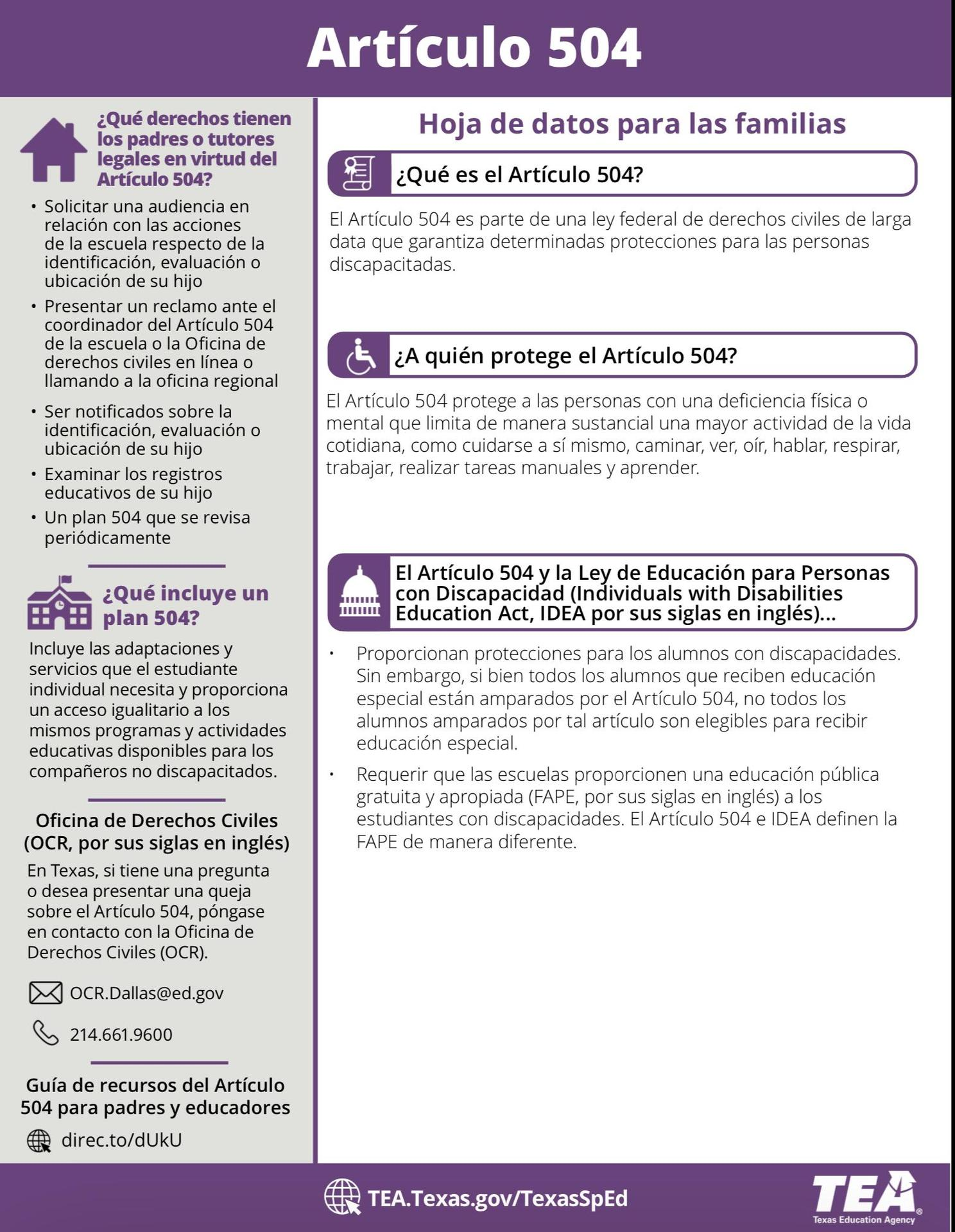 504 Fact Sheet for Families - Spanish