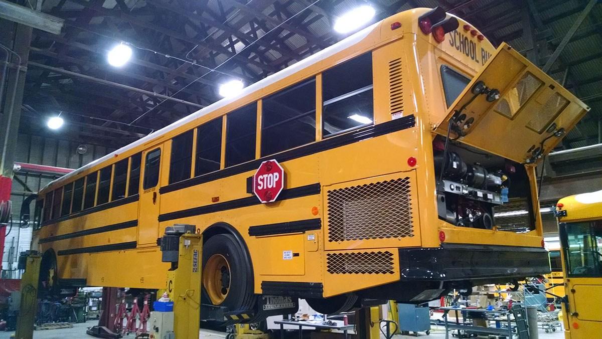 School bus in the shop