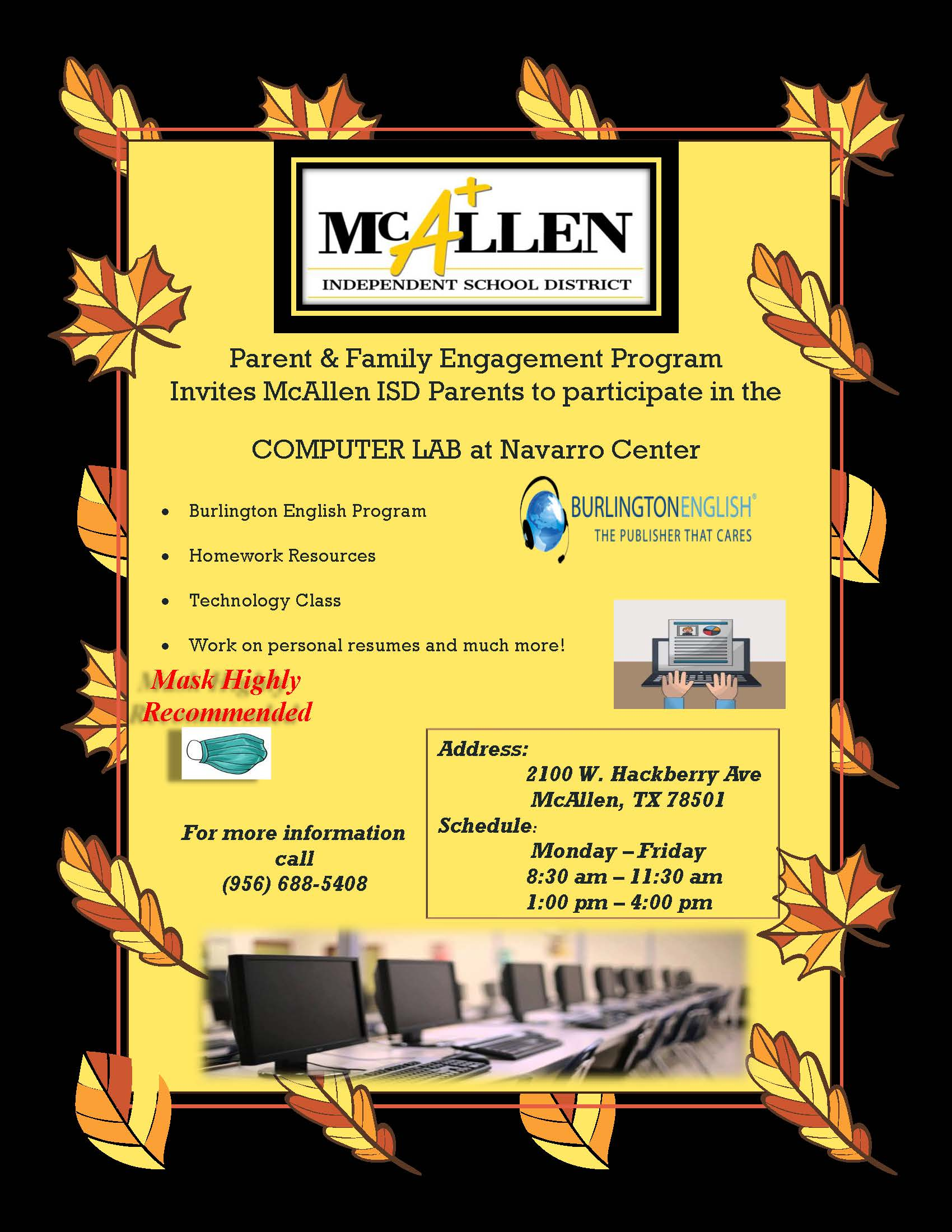 Navarro Parent and Community Center Computer Lab Flyer