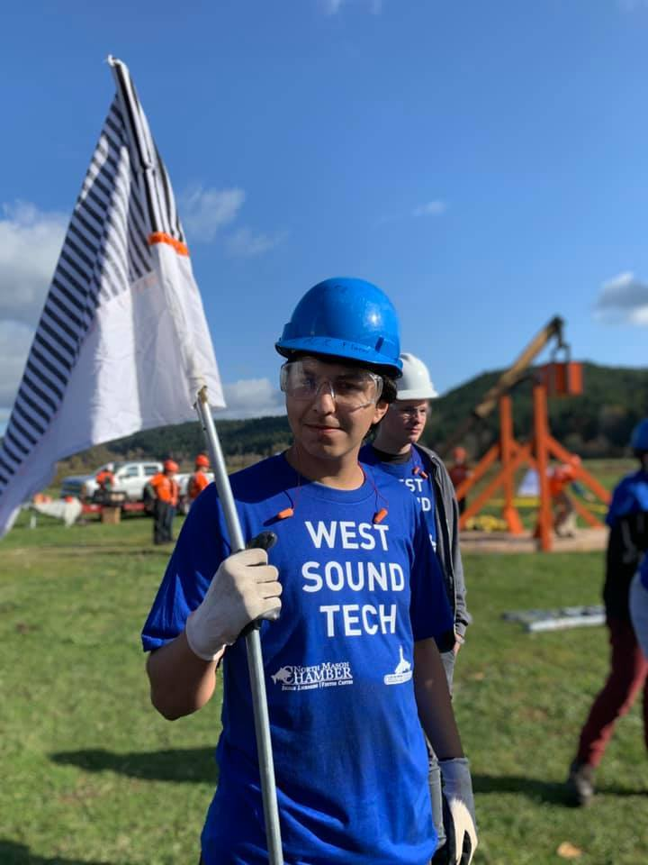 A member of the WS Construction Team at the Pumpkin Chunkin' competition