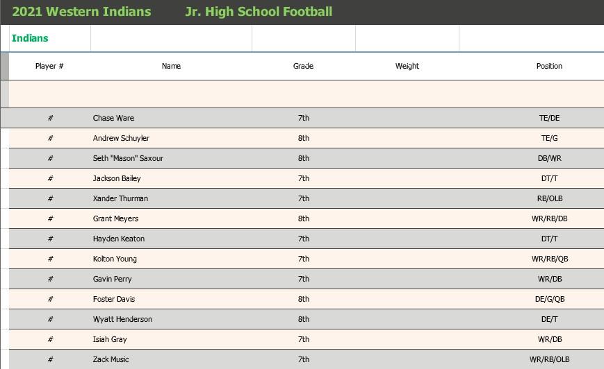 Junior High Roster 2021-22