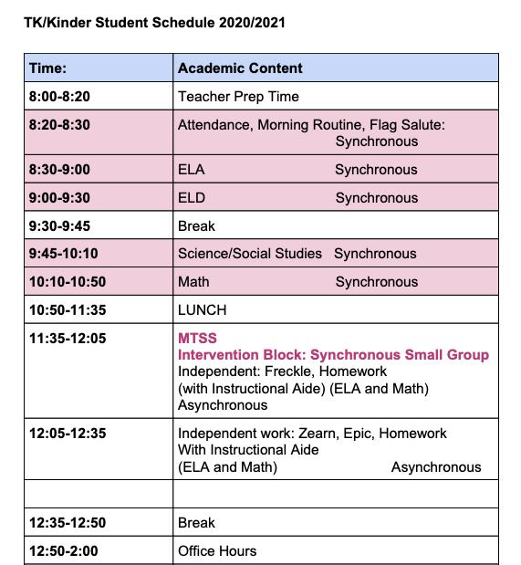 TK/Kinder Student Schedule 2020-2021