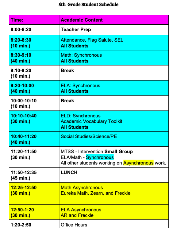 5th Grade Student Schedule