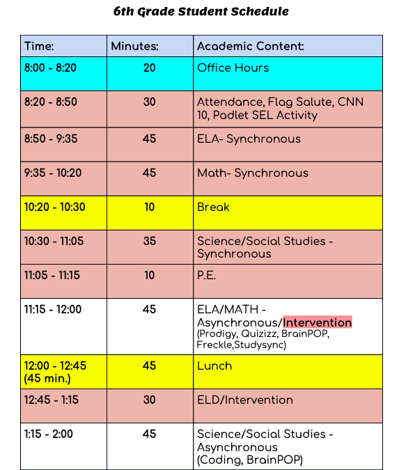 6th Grade Distance Learning Schedule