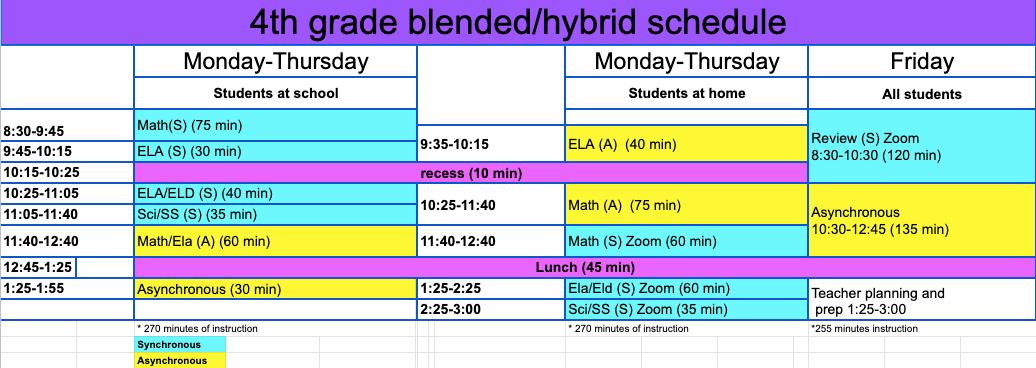 4th Grade Student Schedule