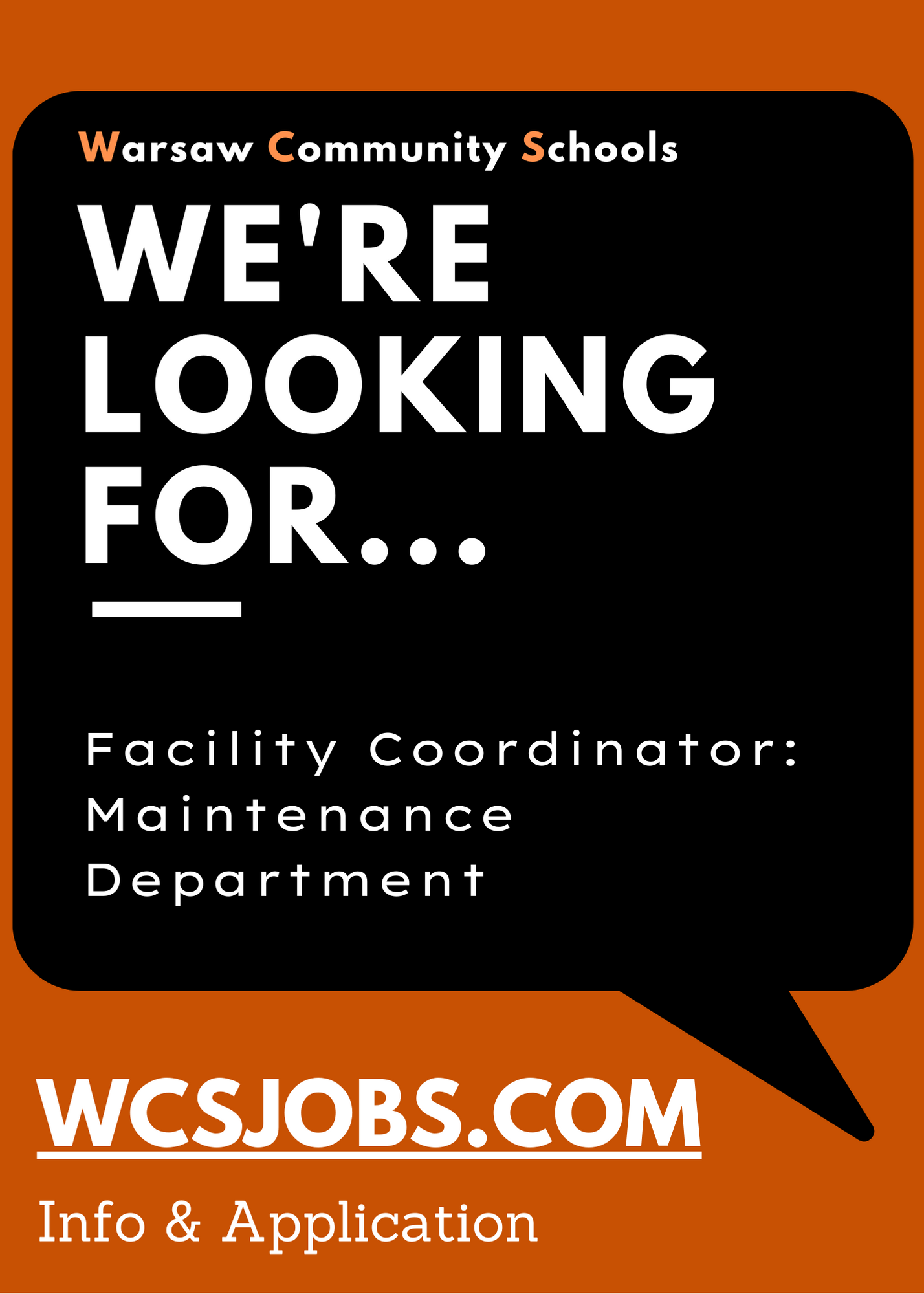 We're Looking For...