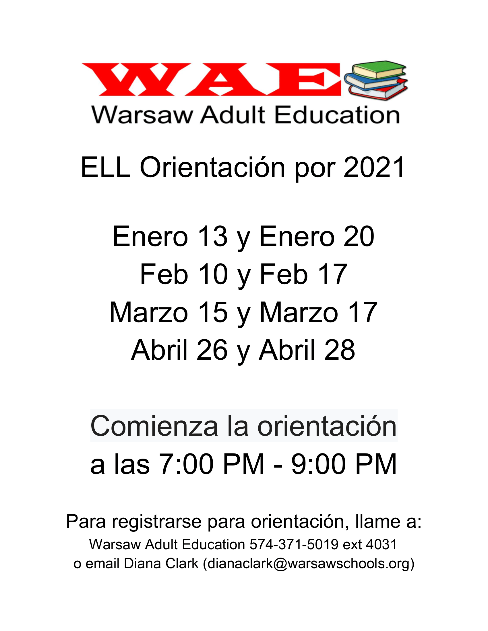 Warsaw Adult Education ELL Orientación 2021