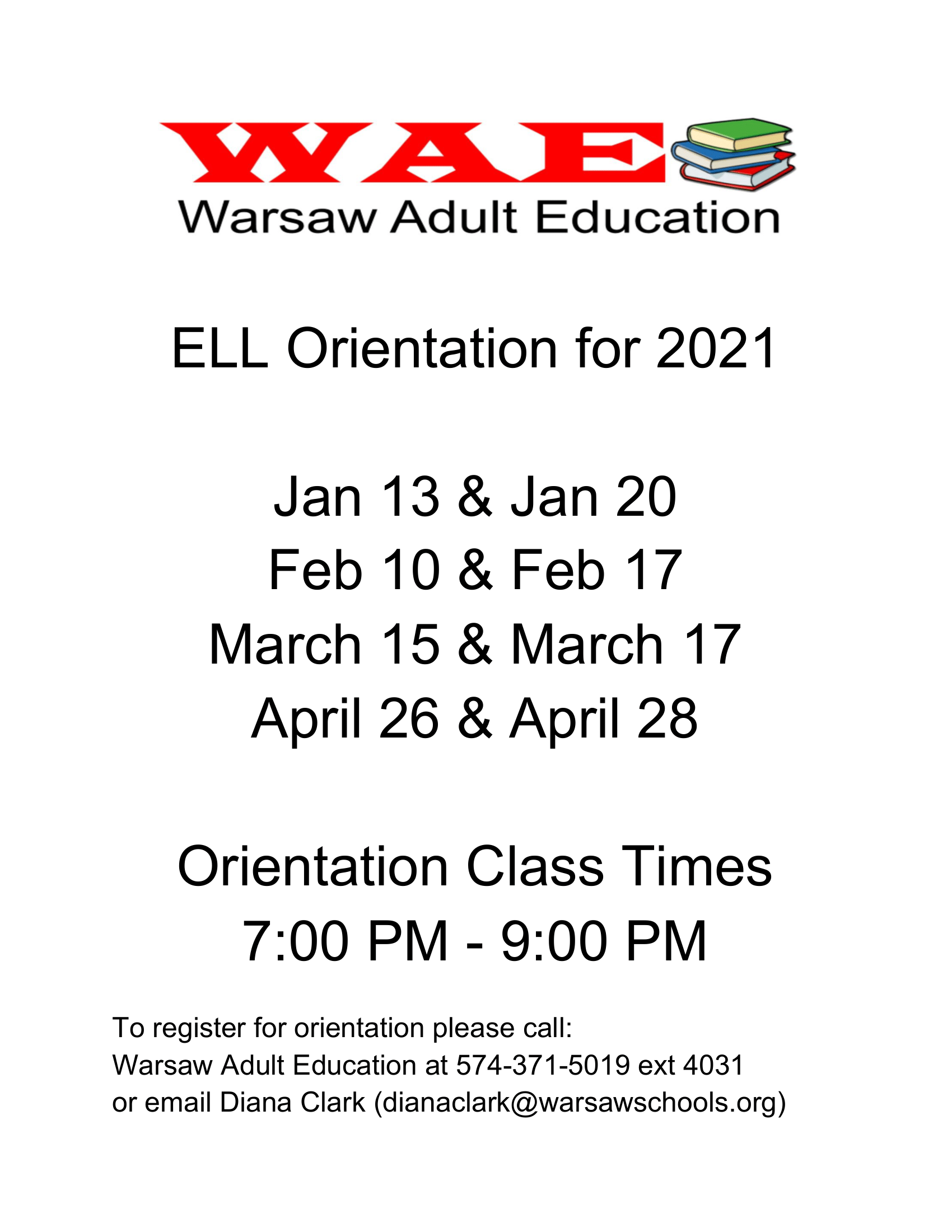 Warsaw Adult Education ELL Orientation for 2021