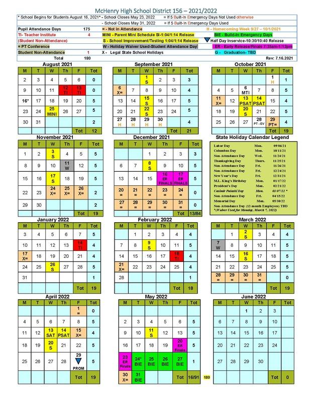 2021-22 Calendar Graphic