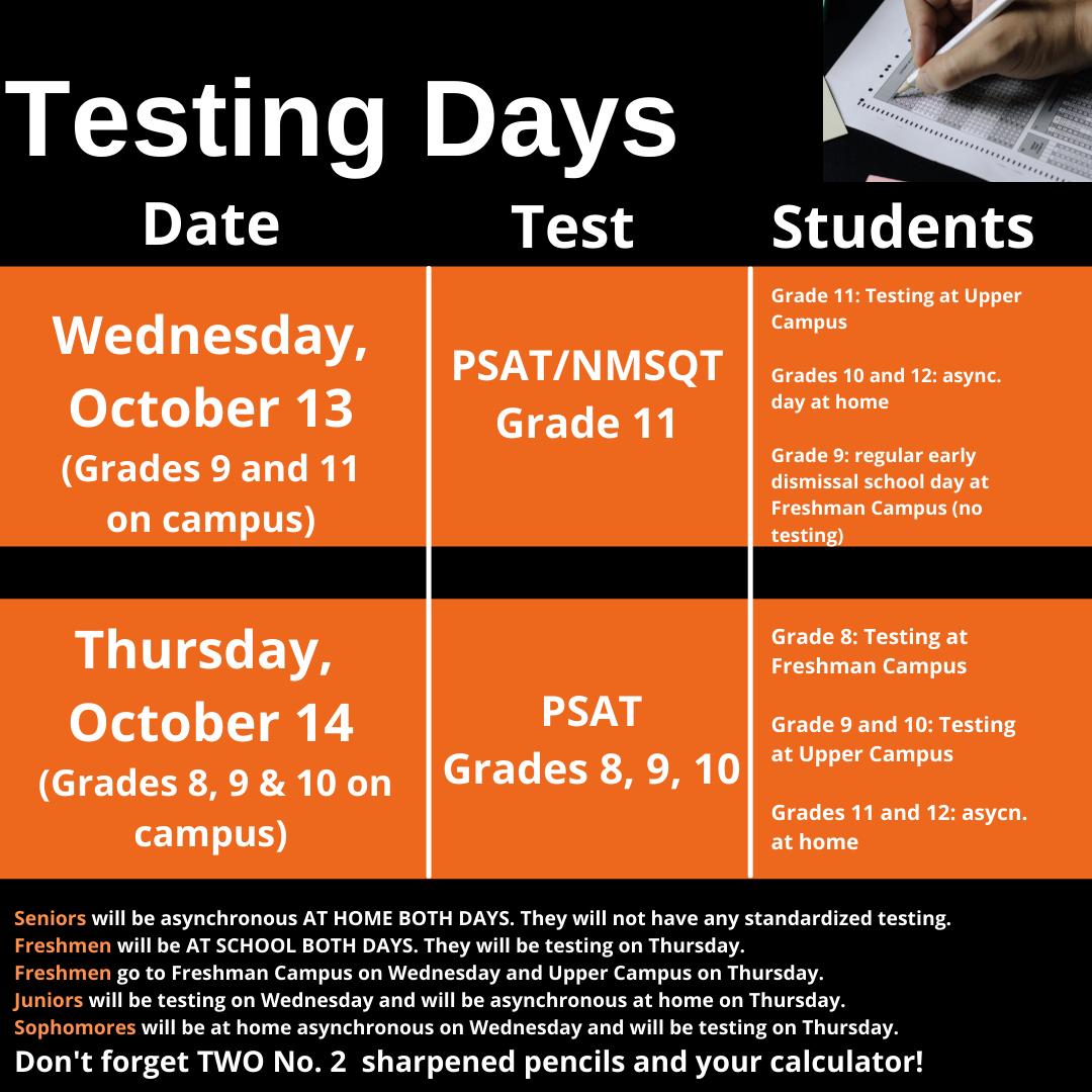 Testing Days Schedule