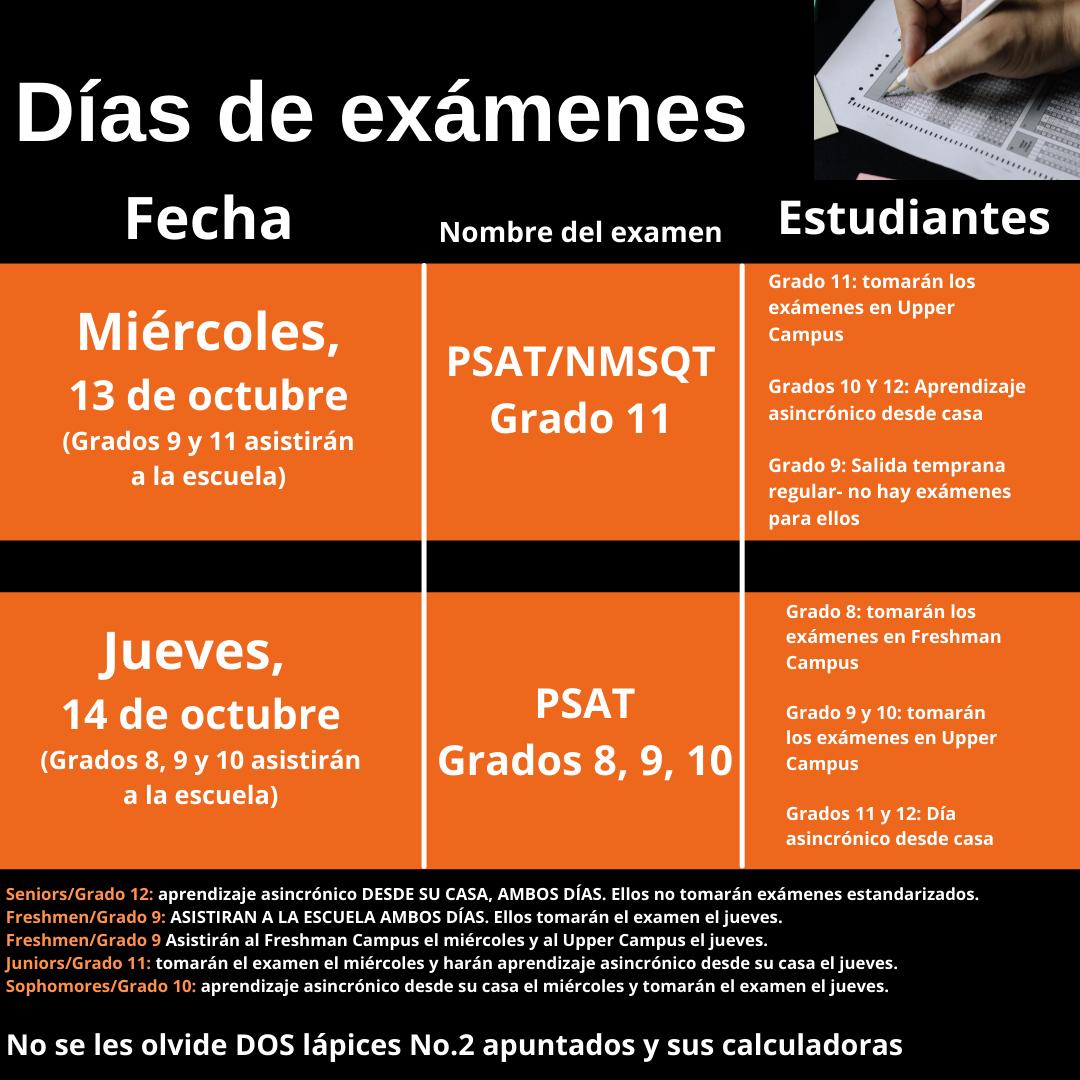 Testing Days Schedule- Spanish