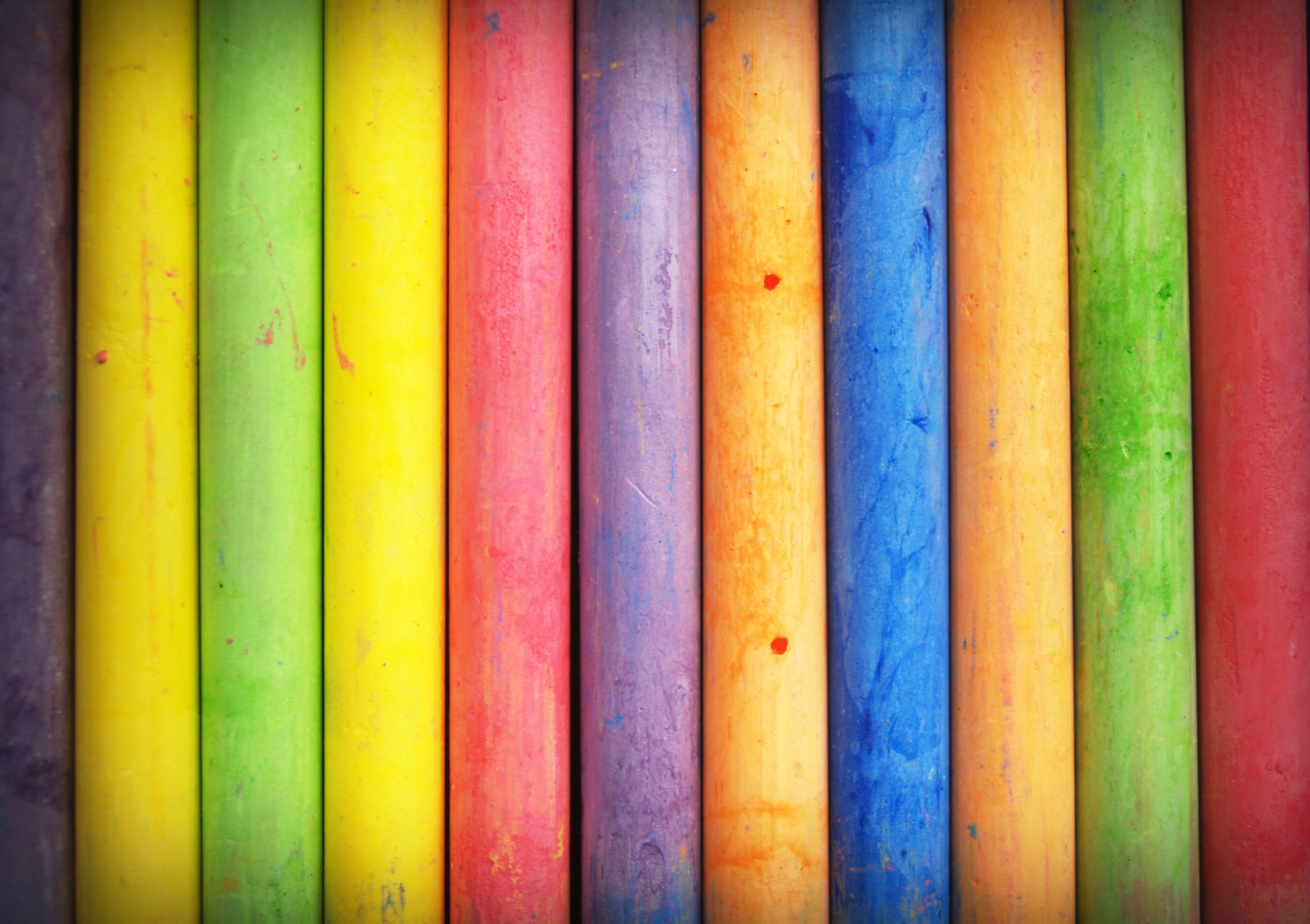 A row of multicolored chalk.