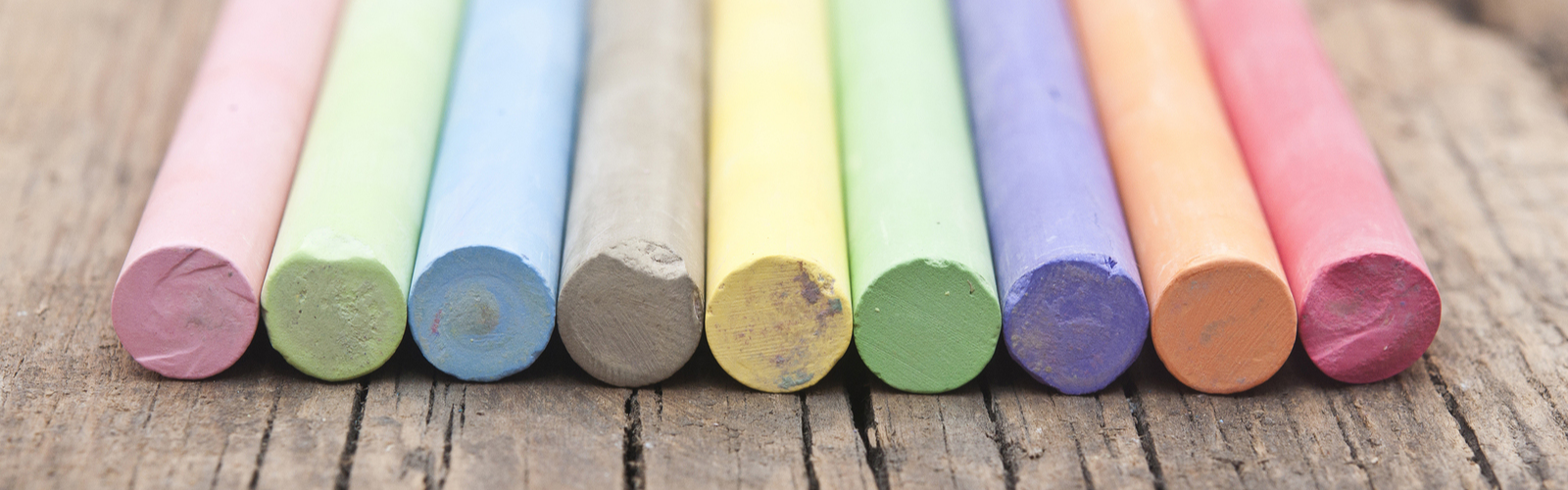 Colorful Chalk Sticks in a Row